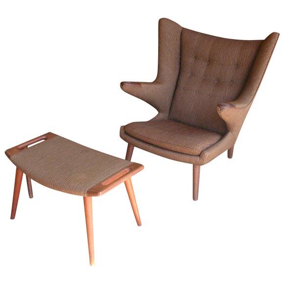 "Hans Wegner ""Papa Bear"" chair & ottoman"