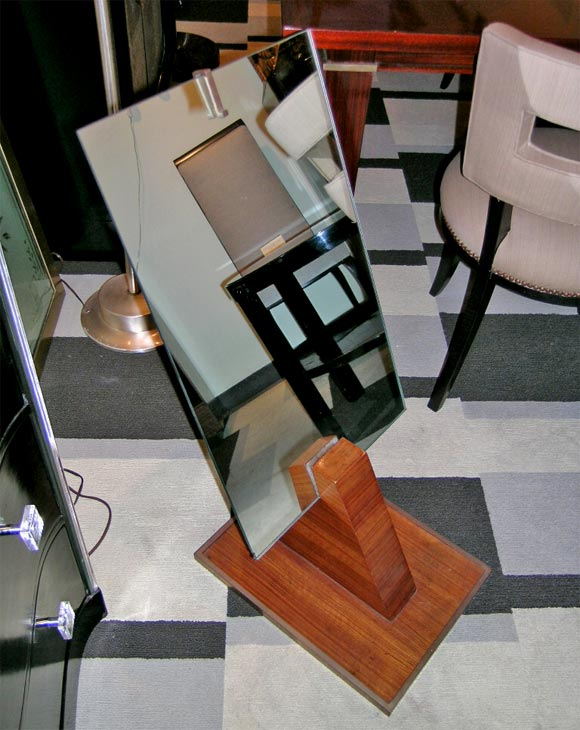 French Art Deco Floor Mirror in Book-Matched Palisander with Bronze Details 2