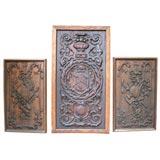 Set Of Three Carved Oak English Panels