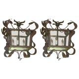 Pair of Iron Tole Hanging Lanterns