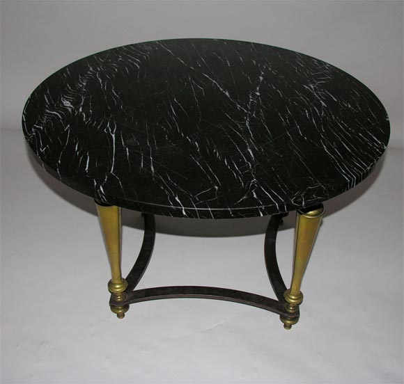 Coffee Table Bases For Marble Tops: Round Brass Coffee Table With Black Marble Top At 1stdibs