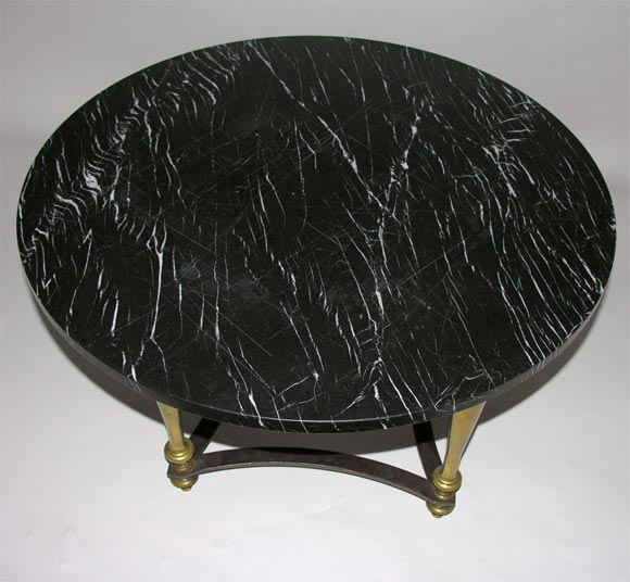 Round Brass Coffee Table With Black Marble Top 3