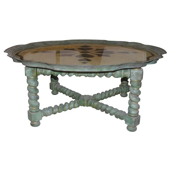 Gorgeous italian reverse painted on glass top coffee table for Gorgeous glass coffee table