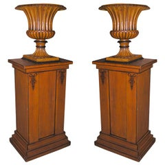Grain Painted Pedestals and Urns