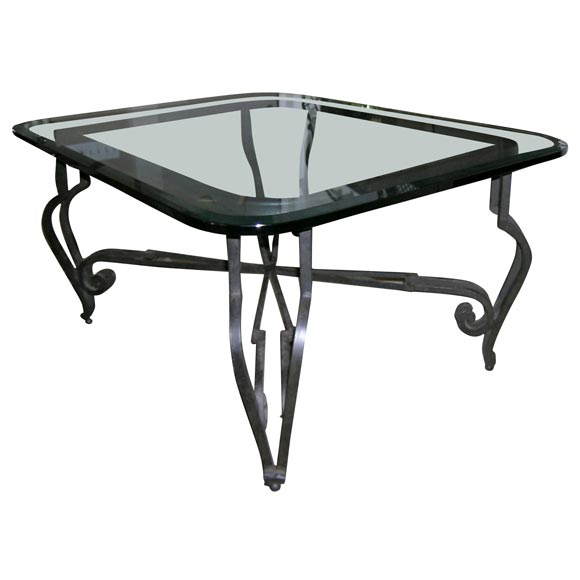 Black Wrought Iron Cocktail Table With Beveled Glass Top At 1stdibs