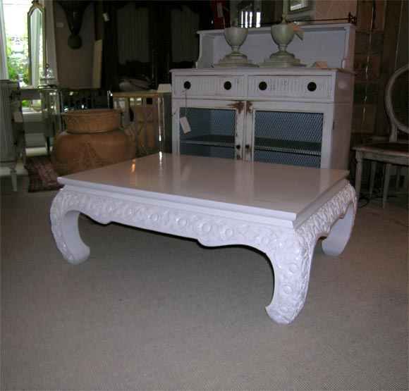 White Painted Hand Carved Teak Coffee Table At 1stdibs