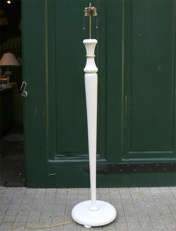 French 1940s white and gilt carved wood floor lamp. Newly rewired.
