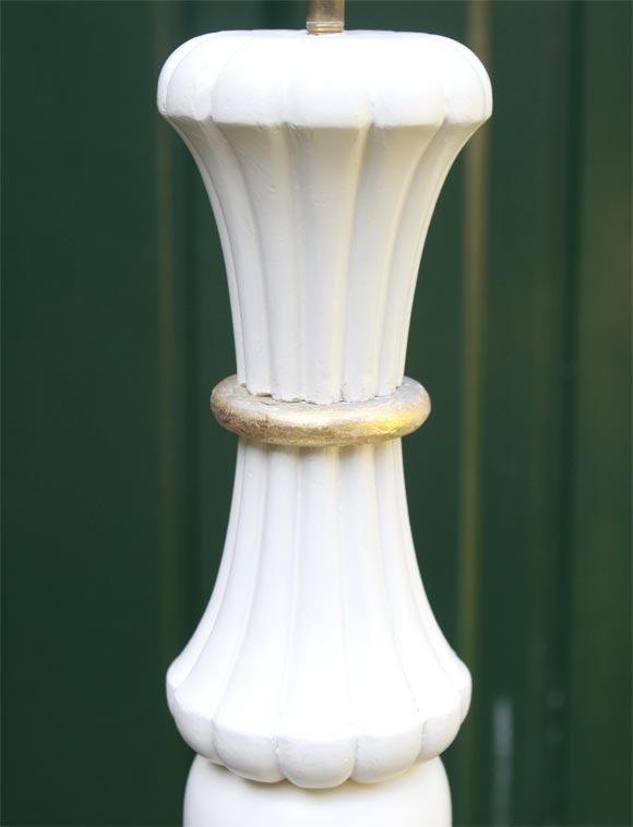 White Painted French 1940s Floor Lamp In Good Condition For Sale In Stamford, CT