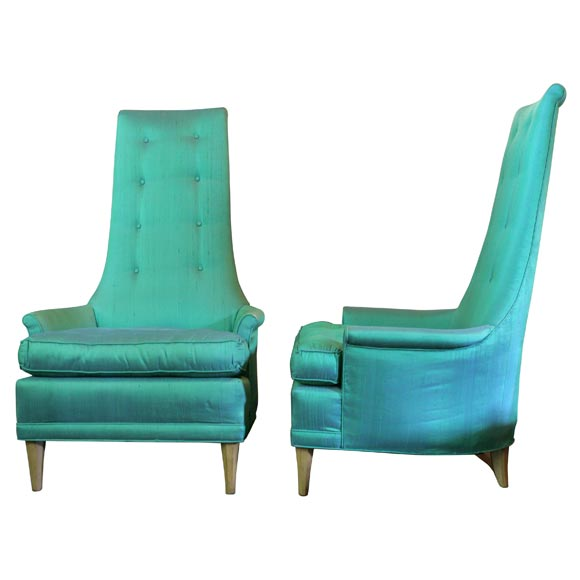 Pair High Back Upholstered Chairs at 1stdibs