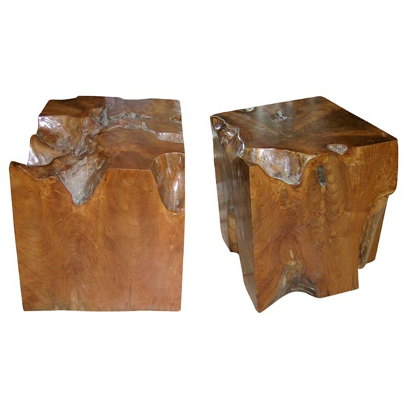 Pair Of Ironwood Wooden Cubes At 1stdibs