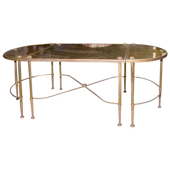 French Gold Coffee Table: 3-Sectional Gold Glass Top Bronze French Coffee Table At