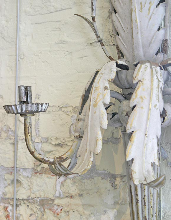 Single zinc wall sconce at 1stdibs