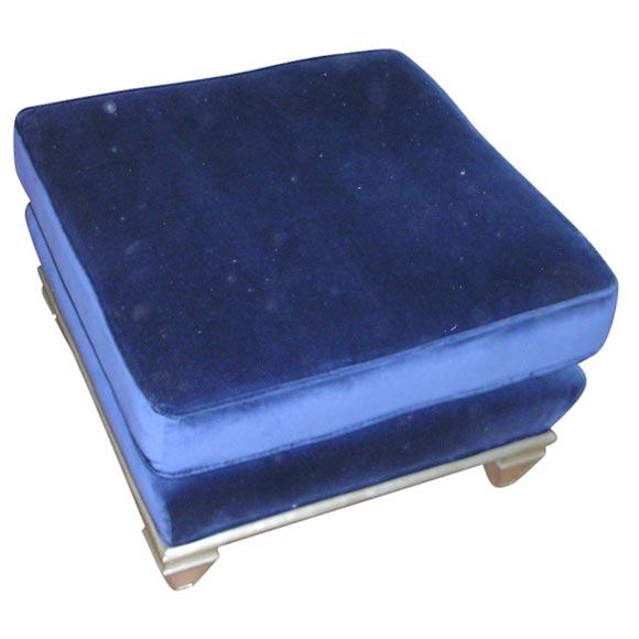Silver Leafed Ottoman Upholstered In Prussian Blue Velvet