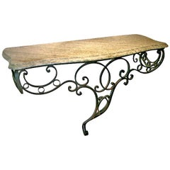 Elegant French Iron Console with Green Marble