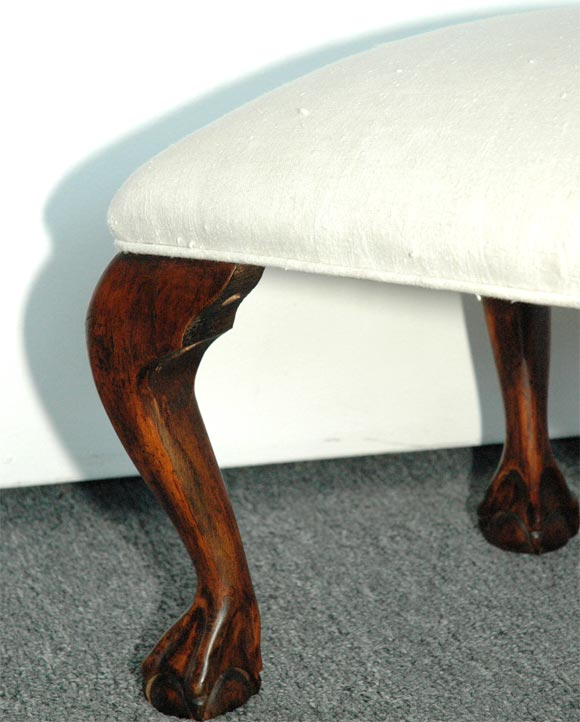1930s Chippendale Style Ottoman With Ball And Claw Feet At