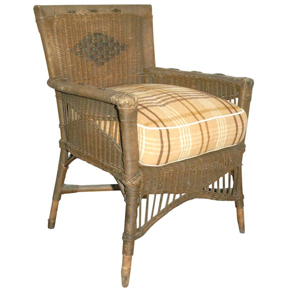 1920 Original Brown Painted Wicker Chair With Blanket