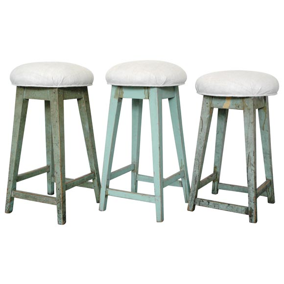 19THC ORIGINAL BLUE GREEN PAINTED BAR STOOLS WITH LINEN
