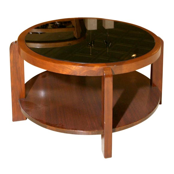 American modern mahogany cocktail table with black glass for Contemporary glass cocktail tables