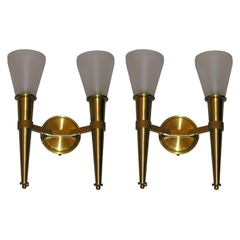 French, 1950s Wall-Sconces by Perzel For Sale