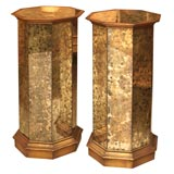 French Columnar Oxidized Mirrored Pedestals with Gilded Trim