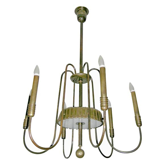 Bronze Modern Neoclassical Chandelier by Brusotti (Fontana Arte),  Italy, 1930