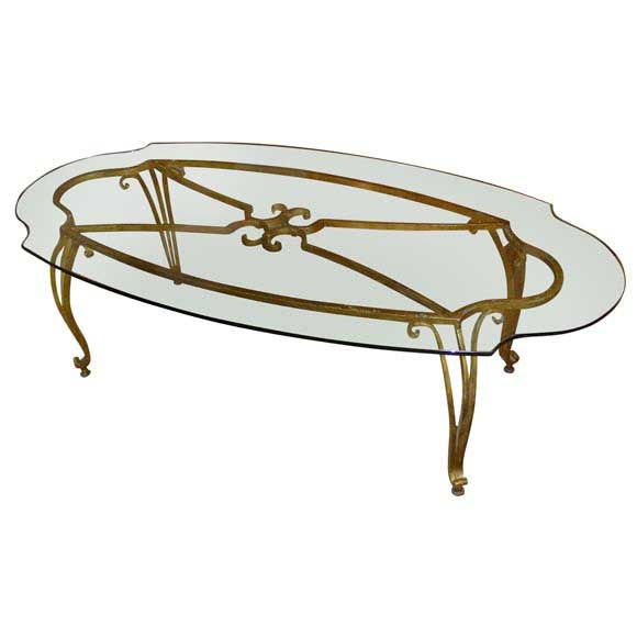 1940s Gilt Wrought Iron And Glass Coffee Table At 1stdibs