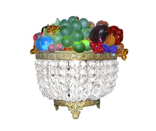 Beaded glass lighted fruit basket sale at stdibs