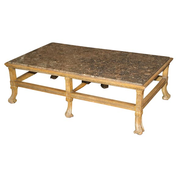 Large carved wood coffee table with fossil marble inset for Fossil coffee table