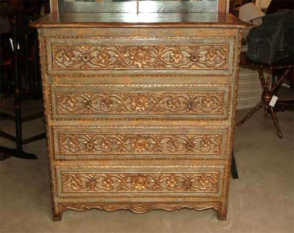 Spanish colonial painted commode at 1stdibs - Commode style colonial ...