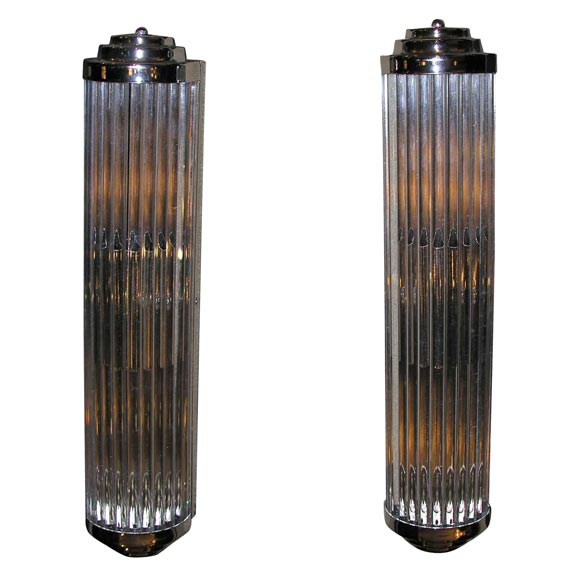 Pair of Machine Age Glass Rod Sconces at 1stdibs
