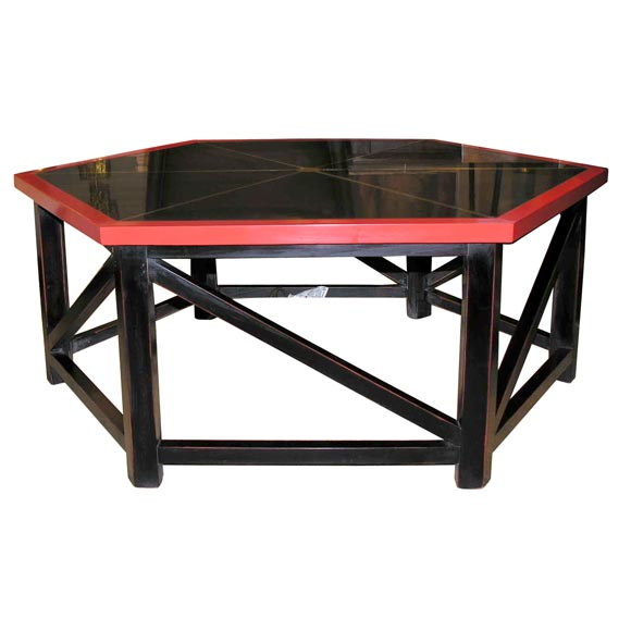 Six Sided Black And Red Cocktail Table With Brass Inlay At 1stdibs