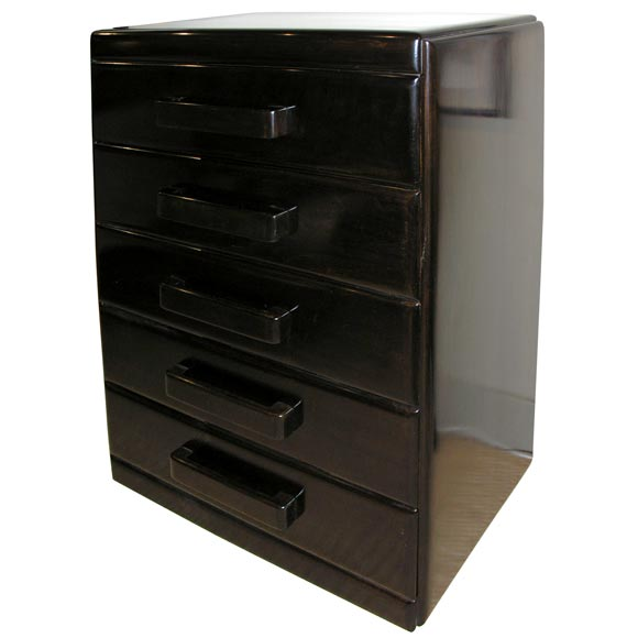 Tall Ebonized Chest Of Drawers Chunky Handles At 1stdibs