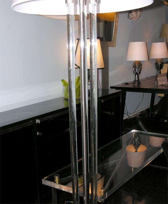 Tri Rod Glass Floor Lamp By J Adnet At 1stdibs