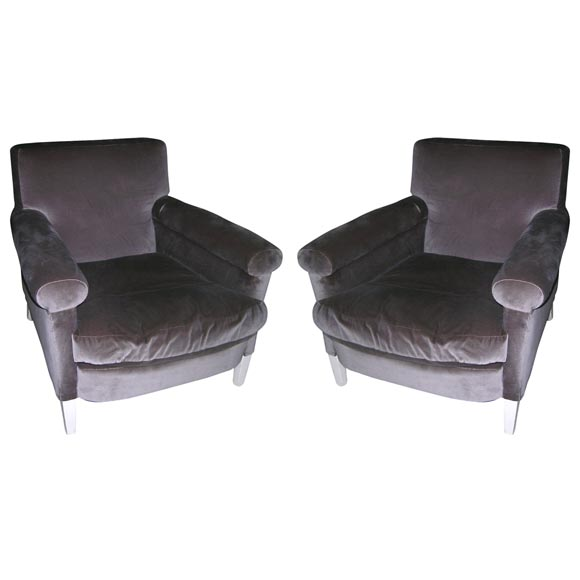 Pair of 1940 s Grey Velvet Chairs 1. Pair of 1940 s Grey Velvet Chairs For Sale at 1stdibs