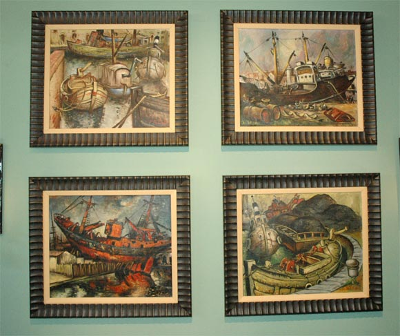 Set of four framed WPA style oil paintings probably painted in the late 1930's-late 1940's Signed Calastrini.