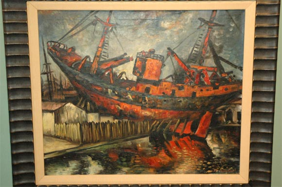 American Set of Four WPA Style Ship  Paintings For Sale