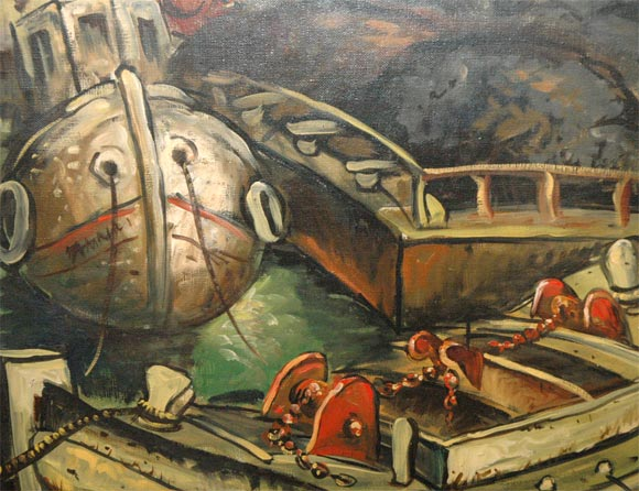 Mid-20th Century Set of Four WPA Style Ship  Paintings For Sale