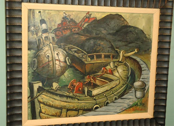 Set of Four WPA Style Ship  Paintings For Sale 1