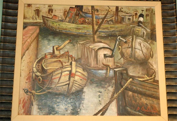 Set of Four WPA Style Ship  Paintings For Sale 2