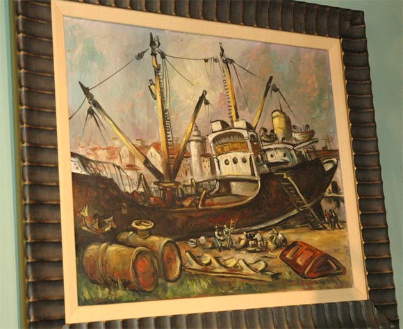 Set of Four WPA Style Ship  Paintings For Sale 3