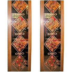 Pair of Signed and Dated Eglomise Panels