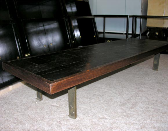 French Pierre Lebé Bronze and Slate Table For Sale