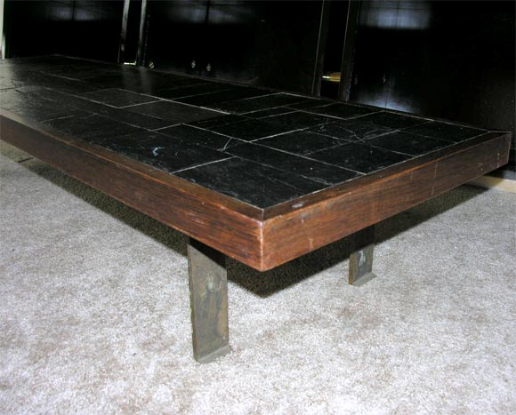 Pierre Lebé Bronze and Slate Table For Sale 1