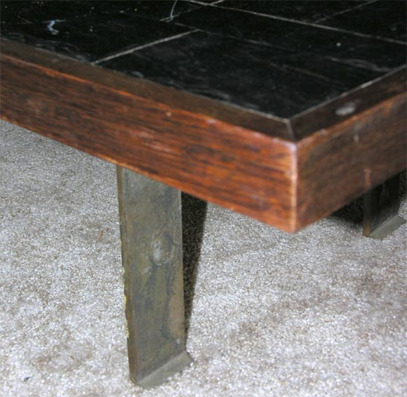 Pierre Lebé Bronze and Slate Table For Sale 2