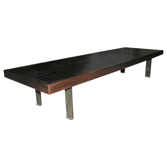 Pierre Lebé Bronze and Slate Table For Sale