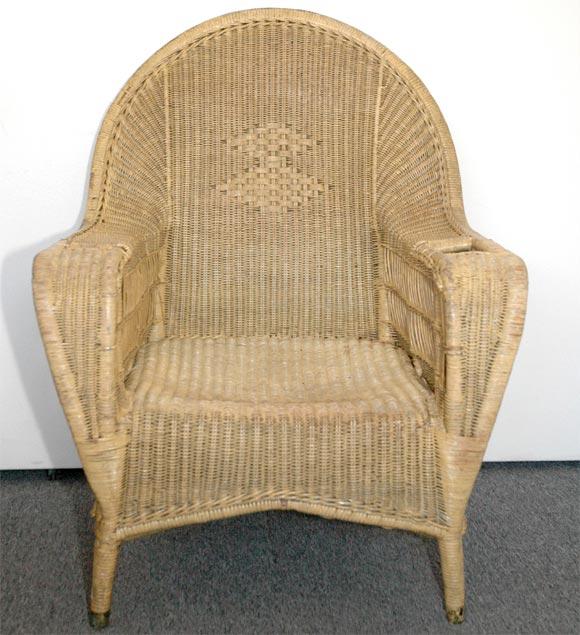 Bar Harbor Fan Back Wicker Chair In Original Pale Yellow
