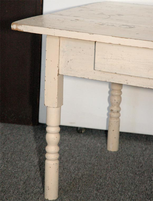 1920s Original White Painted Coffee Farm Table From Pennsylvani At 1stdibs