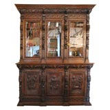 Large Carved Oak Six Door Bookcase
