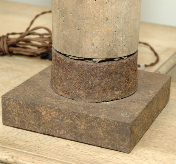 wood lamp with square iron base at 1stdibs. Black Bedroom Furniture Sets. Home Design Ideas