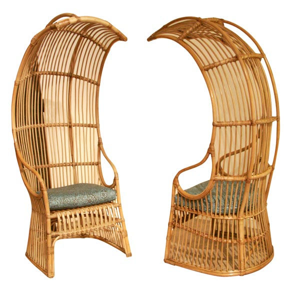 Franco Albini - Pair of Franco Albini rattan chairs